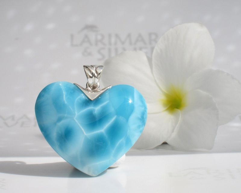 SOLD OUT - Reserved AAA Larimar heart pendant - Love Storm - product images  of