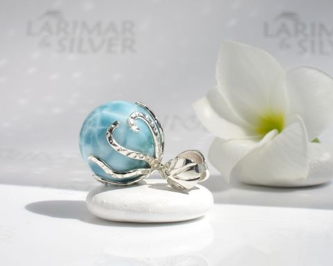 SOLD,OUT,-,Octopus,Larimar,pearl,pendant,Guardian,of,Atlantis,Larimar pendant, Larimar pearl, larimar ball, larimar sphere, octopus pendant, octopus Larimar pendant, silver octopus pendant, water pearl octopus, octopus world, atlantis stone pendant, blue pectolite sphere, Larimar stone jewelry, larimar