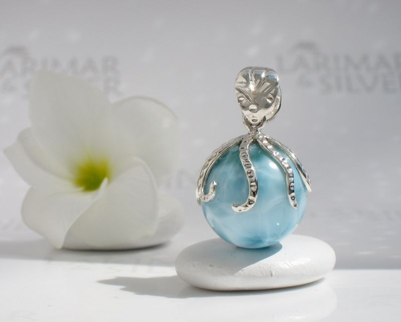 SOLD OUT - Octopus Larimar pearl pendant - Guardian of Atlantis - product images  of