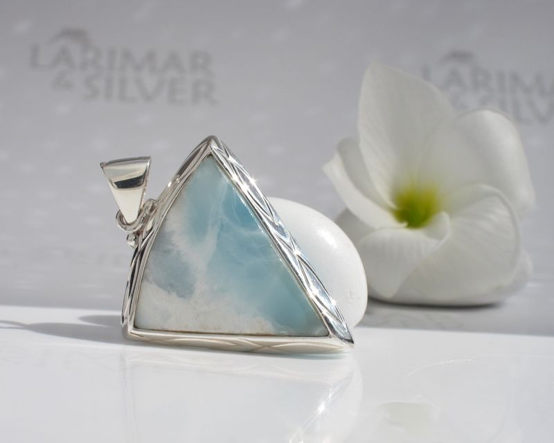 AAA Larimar triangle pendant - Atlantis Wisdom - product images  of