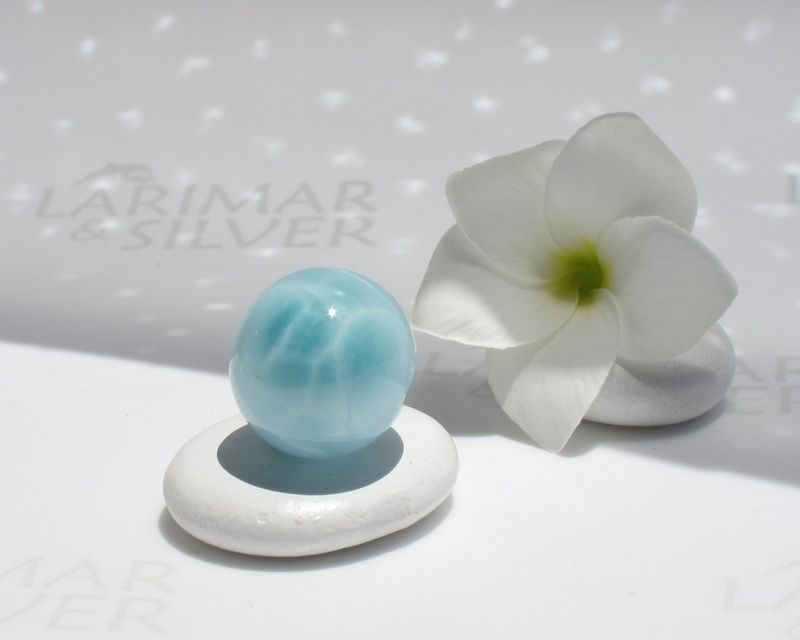 "SOLD OUT - Larimar sphere - Atlantis Marble 1 - diameter 17mm or 11/16"" - product images  of"