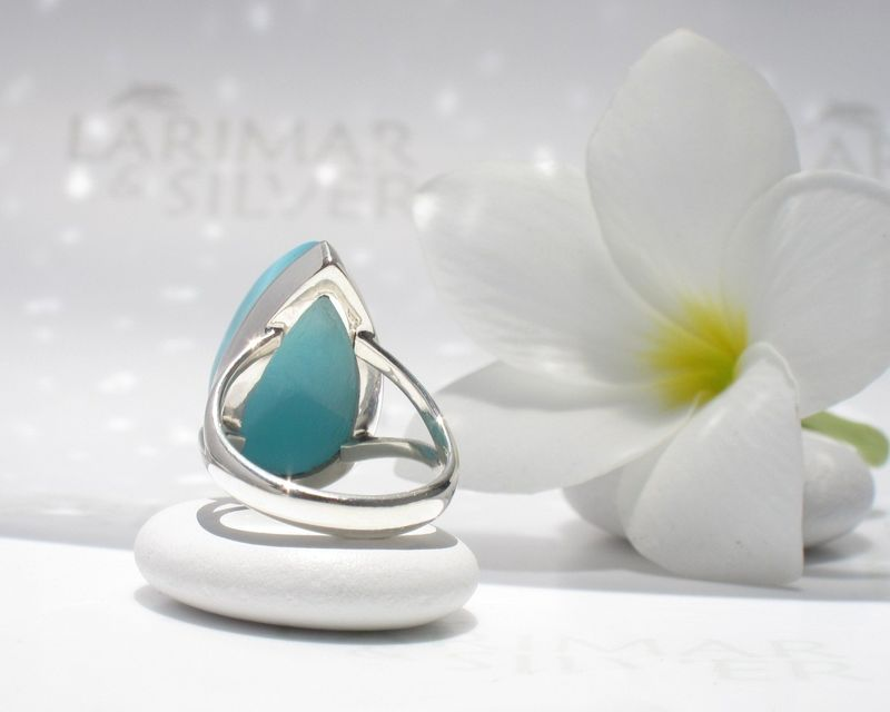 SOLD OUT - AAA Larimar ring size 7.75 - Sea Turtle Queen - product images  of