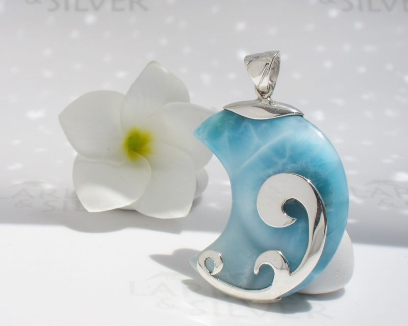 SOLD OUT - Big Larimar moon pendant - The Great Moon Goddess above the Sea - product images  of