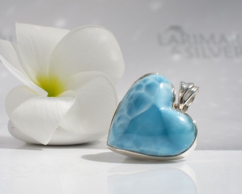 AAA Larimar heart pendant - Caribbean Love - Authentic Dominican Larimar jewelry - product images  of