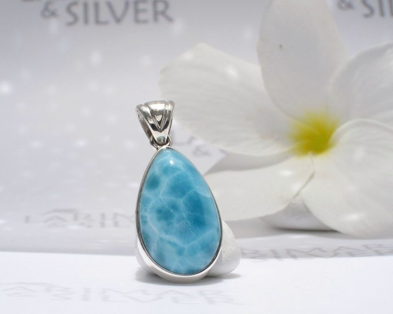 AAA Larimar pendant 925 silver - Blue Turtle - Authentic Dominican Larimar jewelry - product images  of