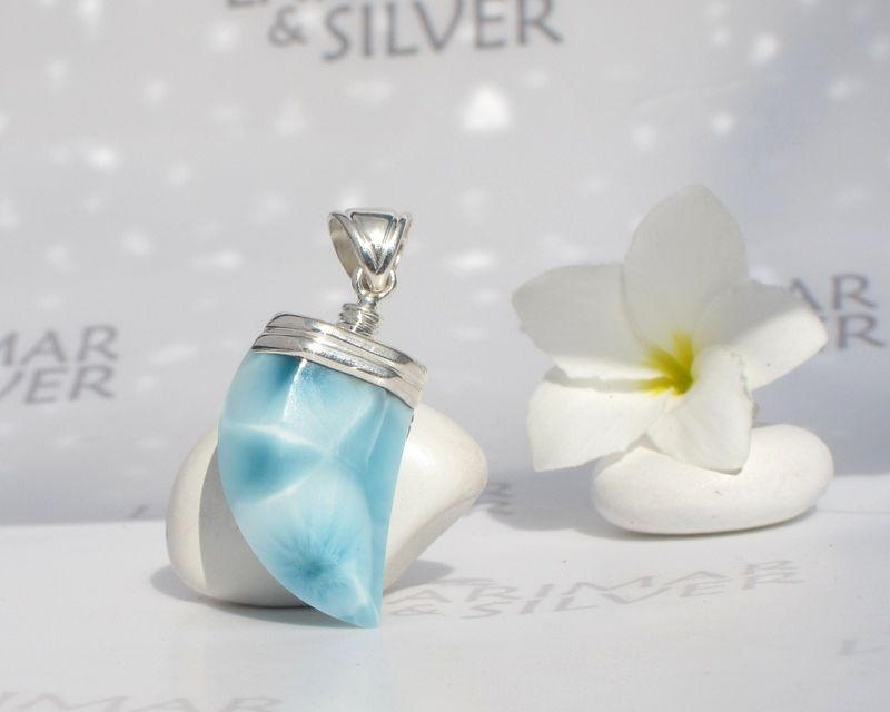 SOLD OUT - Reversible Larimar claw pendant for men - Atlantean Prince - Authentic Dominican Larimar jewelry  - product images  of