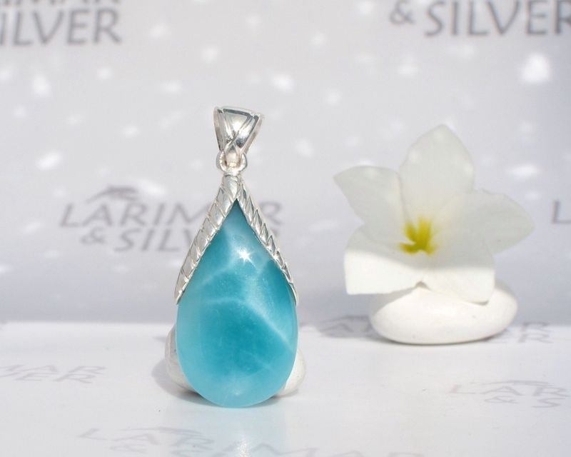 Reversible Larimar drop pendant - Lost by a Siren - Authentic Dominican Larimar jewelry - product images  of