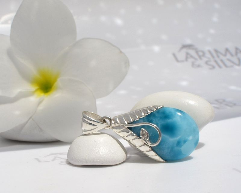 AAA Larimar drop pendant – From My Mermaids Orchard 1 - Authentic Dominican Larimar jewelry - product images  of