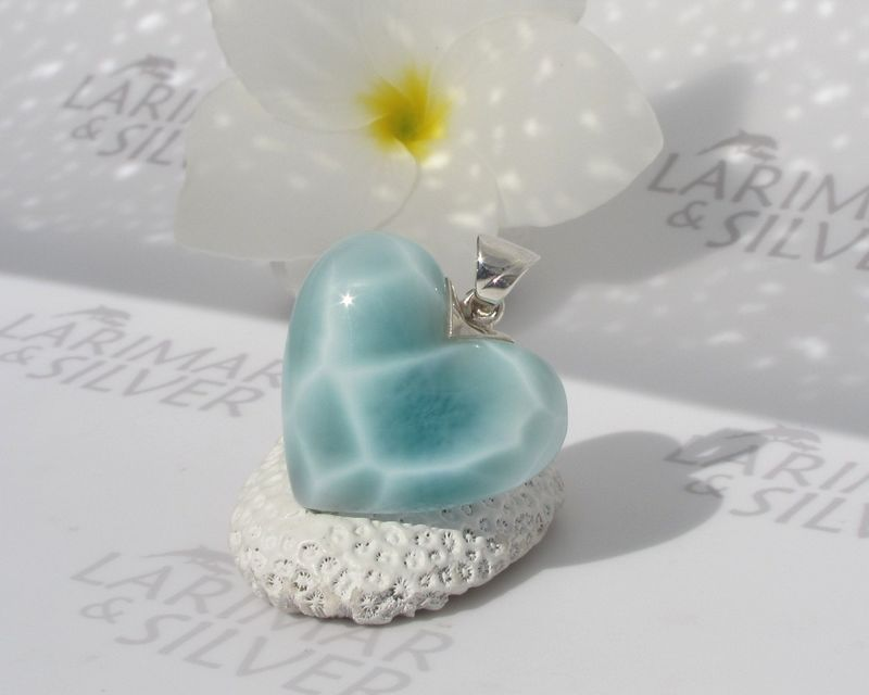 SOLD OUT - Larimar heart pendant 925 silver - Crystal Heart of the Turtle Queen - turtleback Larimar jewelry  - product images  of