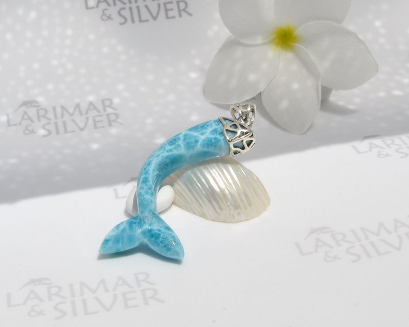 SOLD OUT - AAA Larimar siren pendant, Sea Princess - turquoise Larimar carved mermaid tail pendant 925 silver  - product images  of