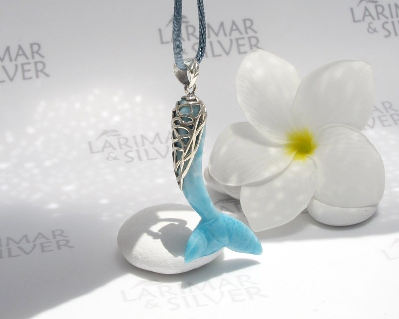 SOLD OUT - Larimar mermaid pendant, Lady Sea - ocean blue Larimar carved siren tail pendant 925 silver - product images  of