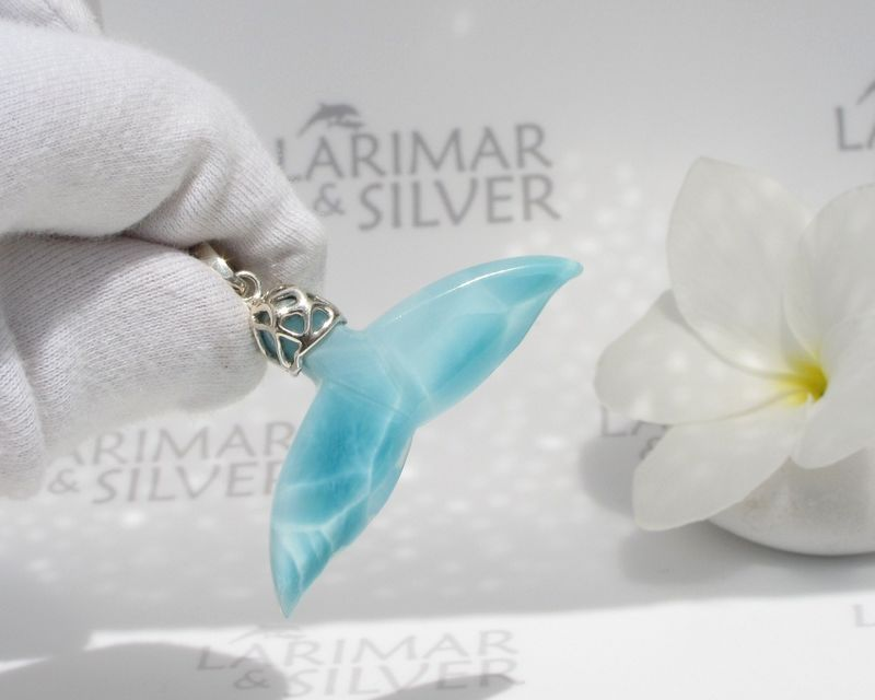 AAA Larimar whale tail pendant, Queen of the Seas - turquoise Larimar carved whale tail pendant 925 silver - product images  of