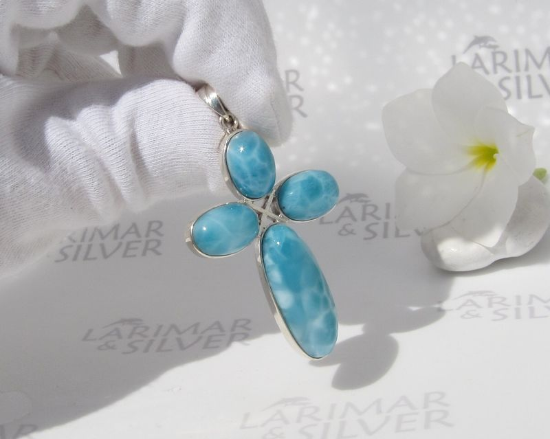 Sea blue Larimar cross pendant, Oceans of Faith - multi stones cross - product images  of