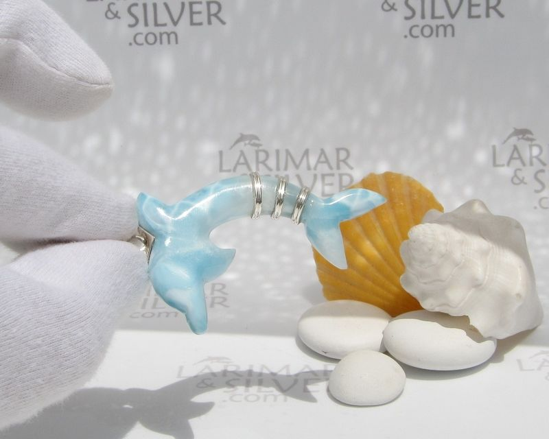 SOLD OUT - Larimar dolphin pendant by Larimarandsilver, Flipper Spirit - product images  of