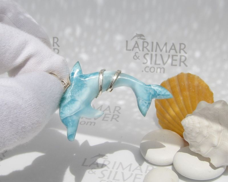 SOLD OUT - Larimar dolphin pendant by Larimarandsilver, Free Spirit of the Seas - product images  of
