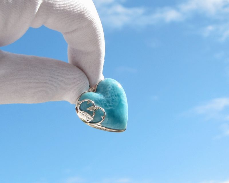 Larimar heart pendant 925 silver - Love at Sleeping Beach - Authentic Dominican Larimar jewelry - JP041 - product images  of