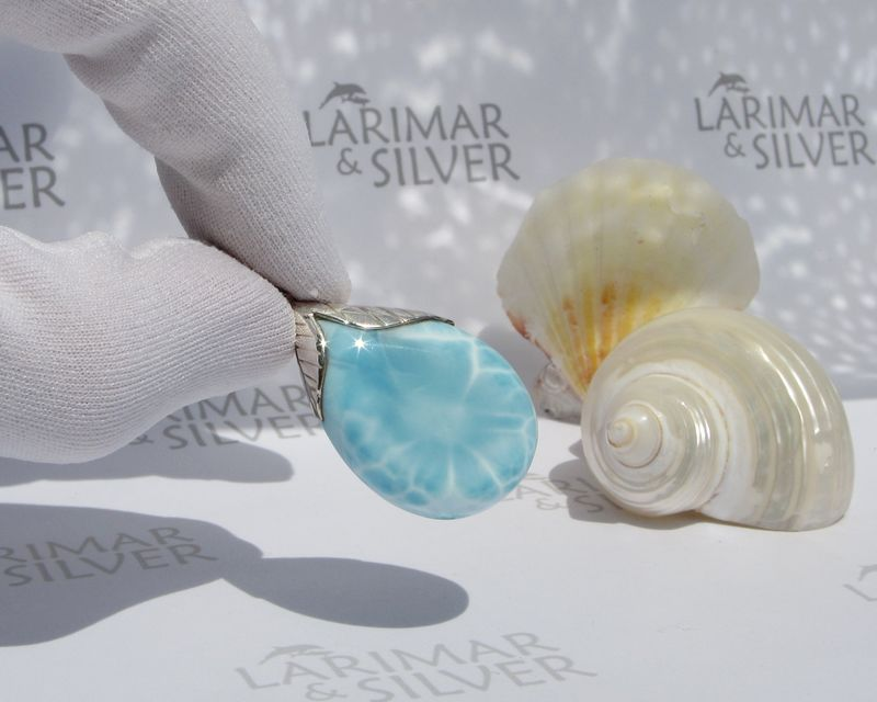 Larimar pendant - Clear Waters - Authentic Larimar jewelry - JP044 - product images  of