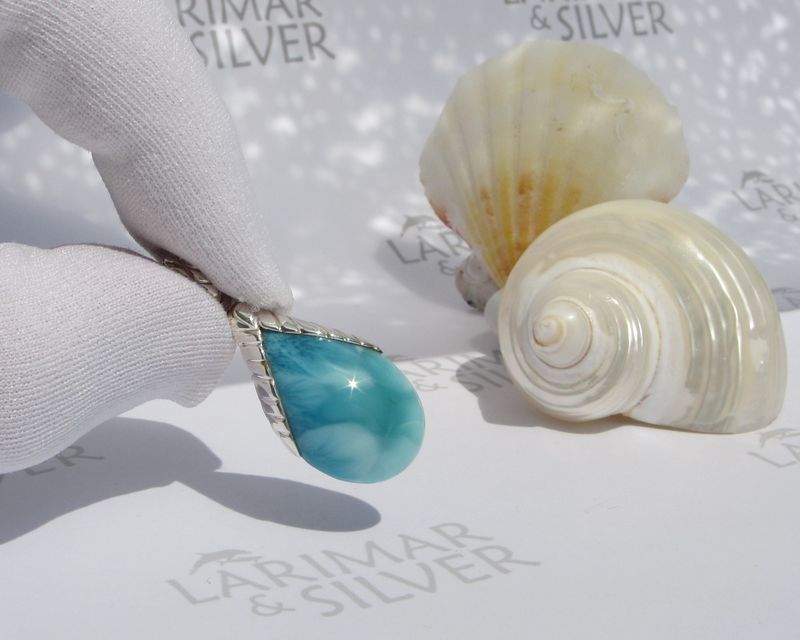 Larimar drop pendant - From the Sirens Orchard 1 - Dominican Larimar jewelry - JP047 - product images  of