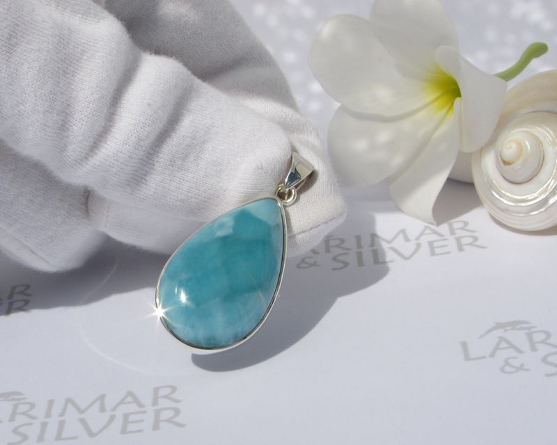 Turquoise Larimar drop pendant 925, Tear of the Sea - larimar jewelry, gift - ラリマー ドロップ- JP2008 - product images  of