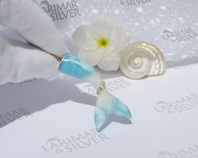 Larimar siren tail pendant, Mermaid Queen - Larimar pendant 925 silver, larimar jewelry, woman gift -ラリマー テール ペンダント - JP2007 - product images  of