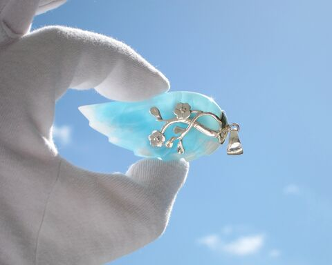 SOLD,OUT,-,Angel,of,Spring,ラリマー,ウィング,ペンダント,big,Larimar,angel,wing,pendant,925,silver/blue,crystal,larimar,JP2026,Larimar stone, angel crystal, larimar wing, blue wing pendant, larimar pendant, angel pendant, blue topaz pendant, guardian angel, Larimar crystal , angel wing, crystal wing, Larimar jewelry, gift for woman