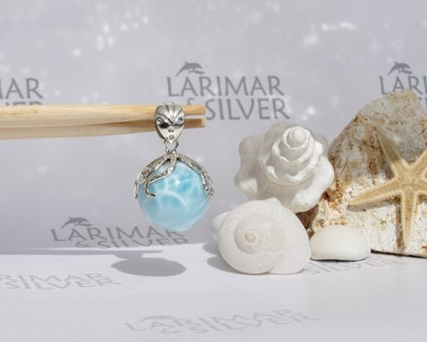 SOLD,OUT,-,AAA,Larimar,octopus,pendant,Guardian,of,Purity,Larimar pendant, Larimar pearl pendant, larimar ball, larimar sphere, silver octopus pendant, octopus Larimar, silver tentacles choker, octopus necklace, octopus world, atlantis stone pendant, blue pectolite pendant, Larimar jewelry, turtleback larimar