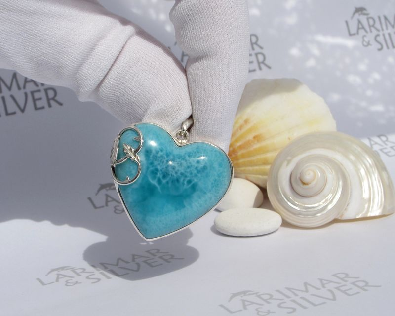 Larimar heart pendant 925 silver - Caribbean Sleeping Beauty - Authentic Dominican Larimar jewelry - JP041 - product images  of