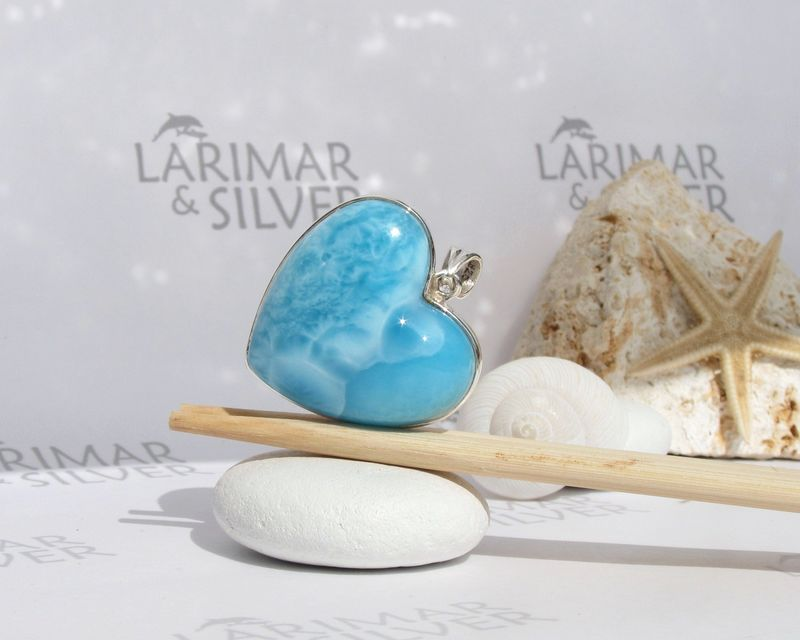 SOLD OUT - AAA Larimar heart pendant by Larimarandsilver - Turquoise Waves of Love - JP050 - product images  of