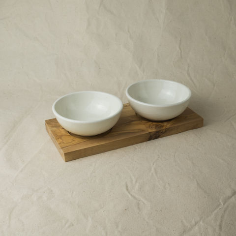 Dip,serving,bowls,with,an,olive,wood,tray,base,-,Handcrafted,in,Palestine, Elbustan,  el bustan, Palestine, Palestinian, West Bank, Bethlehem, Jerusalem, Nablus, Ramallah, Hebron handicrafts, Handmade, Hand carved, crafts, Artisans, ethical, Fair Trade, sustainable, olive wood, Kitchenware, homeware, utensils, food serving, rou