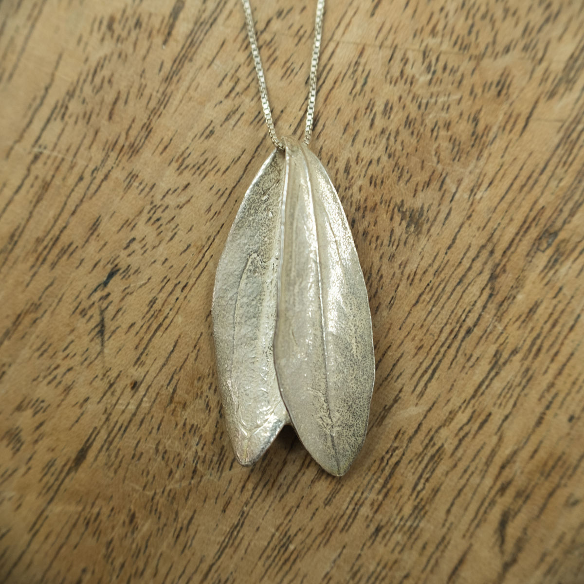 Two olive leaf silver pendant - by Silver Zaytouna - Handcrafted in Palestine - Bethlehem - product images  of