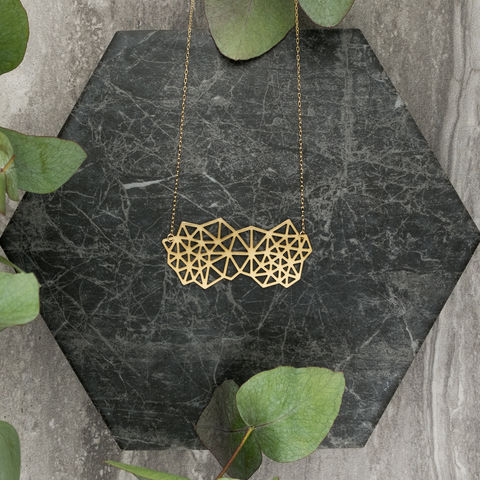 Clustered,Triangles:,gold,plated,pendant,from,MIZYAN.,El bustan, elbustan, Palestine, palestinian, handmade, designer, artisan, artist, Jeweler, jewellery, pendant, necklace, chain, earrings, rings, gold, gold plated, laser cut, geometric, islamic art, islamic architecture, mashrabiya, morocco, arabic, islam