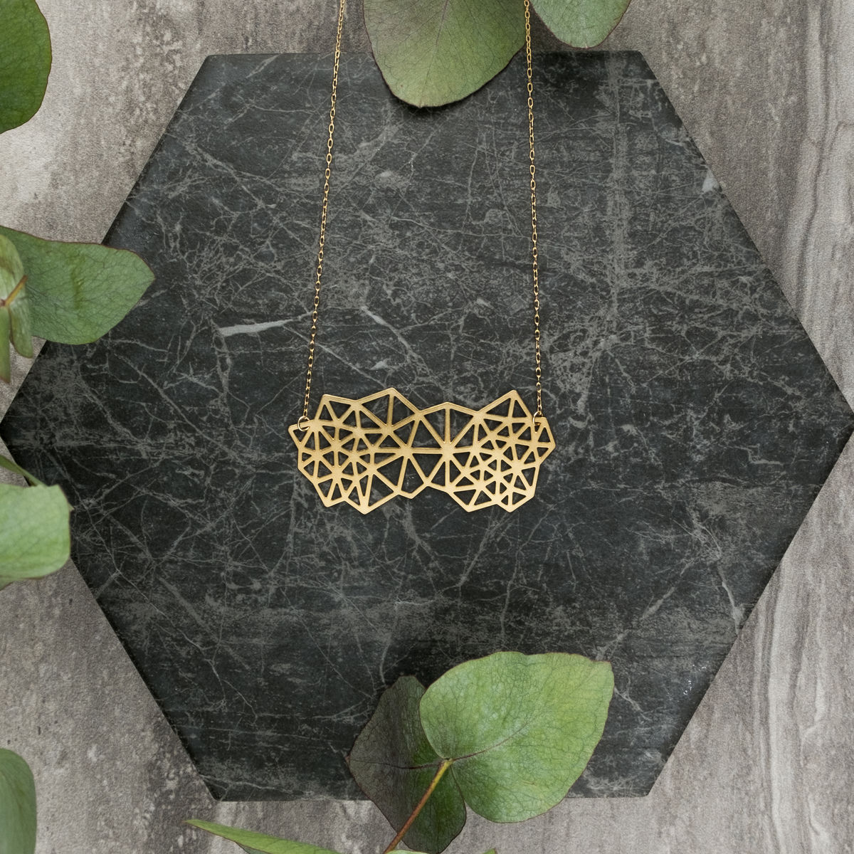 Clustered Triangles: gold plated pendant from MIZYAN.  - product images  of