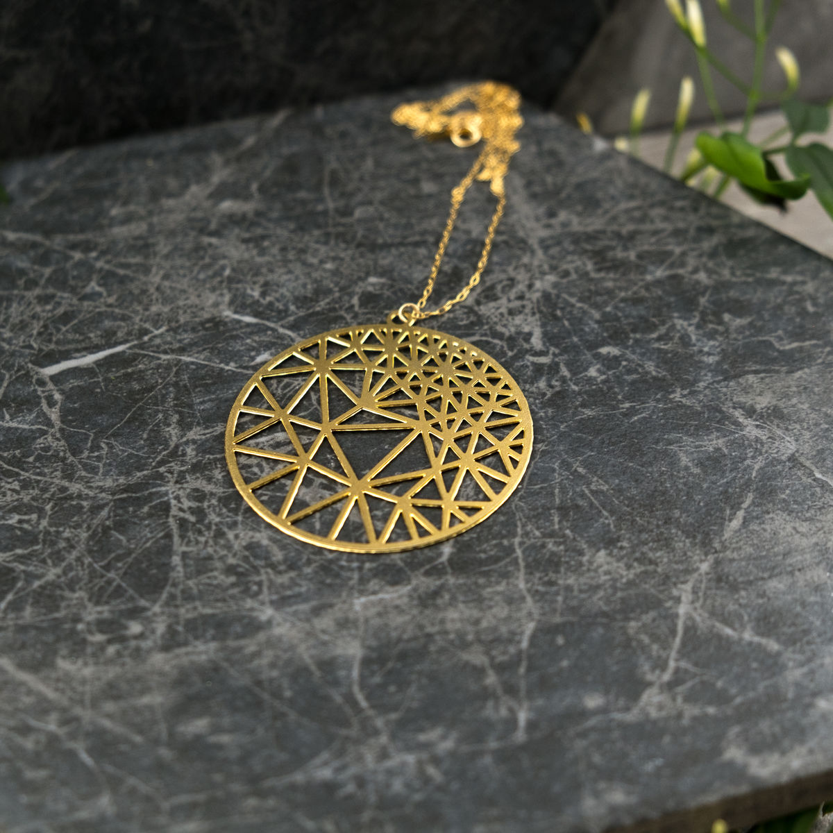 Round Geometry with Triangles: gold plated pendant from MIZYAN - product images  of