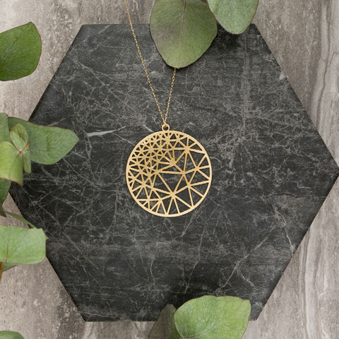 Round,Geometry,with,Triangles:,gold,plated,pendant,from,MIZYAN,El bustan, elbustan, Palestine, palestinian, handmade, designer, artisan, artist, Jeweler, jewellery, pendant, necklace, chain, earrings, rings, gold, gold plated, laser cut, geometric, islamic art, islamic architecture, mashrabiya, morocco, arabic, islam