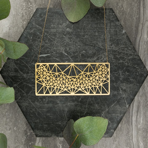 Horizontal,Rectangle,with,Triangles:,gold,plated,pendant,from,MIZYAN,El bustan, elbustan, Palestine, palestinian, handmade, designer, artisan, artist, Jeweler, jewellery, pendant, necklace, chain, earrings, rings, gold, gold plated, laser cut, geometric, islamic art, islamic architecture, mashrabiya, morocco, arabic, islam