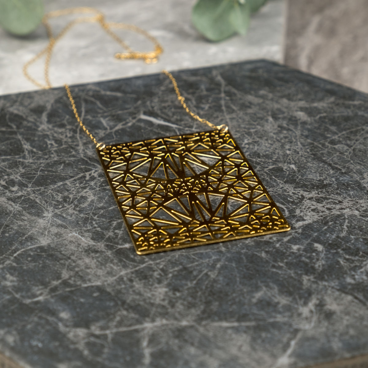 Symmetrical Rectangle with Triangles: gold plated pendant from MIZYAN  - product images  of