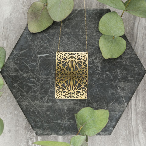 Symmetrical,Rectangle,with,Triangles:,gold,plated,pendant,from,MIZYAN,El bustan, elbustan, Palestine, palestinian, handmade, designer, artisan, artist, Jeweler, jewellery, pendant, necklace, chain, earrings, rings, gold, gold plated, laser cut, geometric, islamic art, islamic architecture, mashrabiya, morocco, arabic, islam