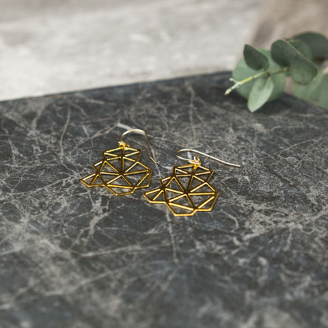 Clustered,Triangles:,gold,plated,earrings,from,MIZYAN,Mizyan, hanan Masalha, designer, jewellery, gold, gold plated, pendant, necklace, chain, earrings, rings, geometric