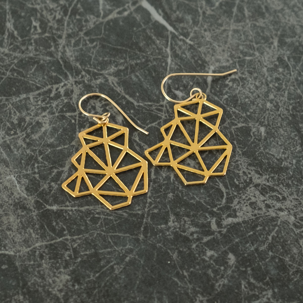 Clustered Triangles: gold plated earrings from MIZYAN  - product images  of