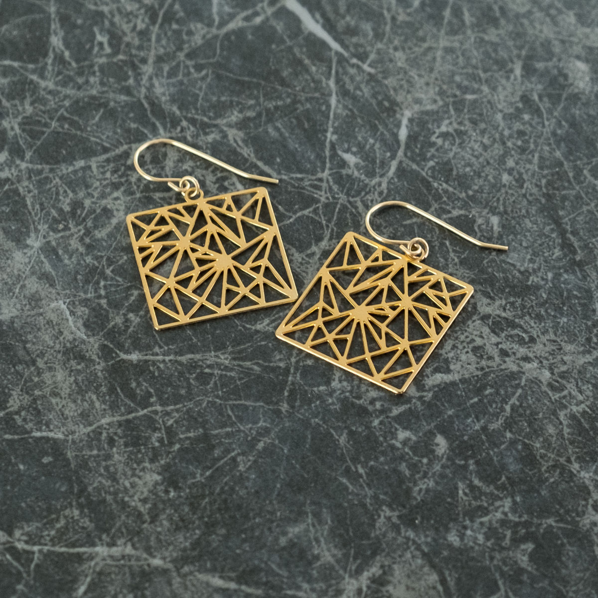 Square with Random Triangles: gold plated earrings from MIZYAN - product images  of