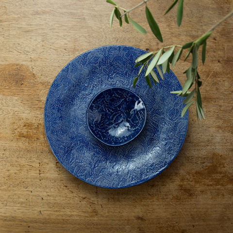 Turabi,ceramics,-,Cobalt,blue,lace,imprinted,tiny,bowl,Handcrafted,in,Palestine,Elbustan, el bustan, Palestine, Palestinian, West Bank, Bethlehem, Jerusalem, Ramallah, handicrafts, hand crafts, Handmade, Hand-built, crafts, Artisans, ceramics, pottery, glaze, turabi ethical, Fair Trade, sustainable, lead-free, food safe,  Kitchenware