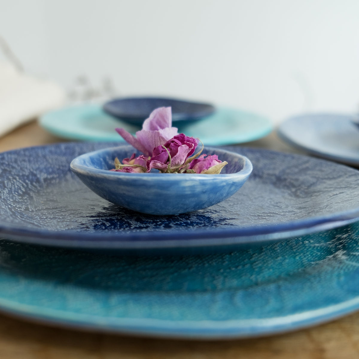 Turabi ceramics - Lake blue lace imprinted tiny bowl - Handcrafted in Palestine - product images  of