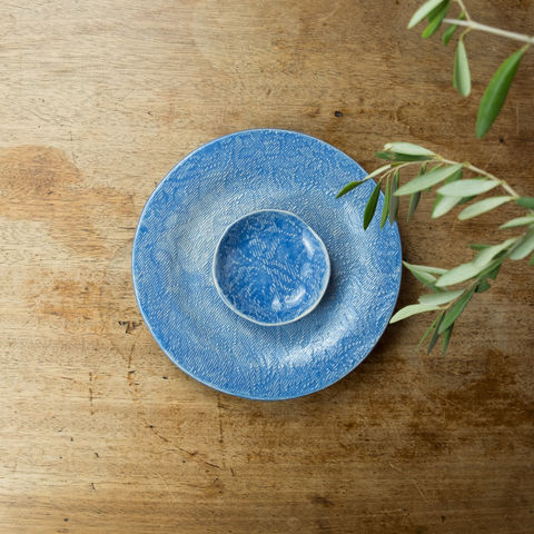 Turabi,ceramics,-,Lake,blue,lace,imprinted,tiny,bowl,Handcrafted,in,Palestine,Elbustan, el bustan, Palestine, Palestinian, West Bank, Bethlehem, Jerusalem, Ramallah, handicrafts, hand crafts, Handmade, Hand-built, crafts, Artisans, ceramics, pottery, glaze, turabi ethical, Fair Trade, sustainable, lead-free, food safe,  Kitchenware