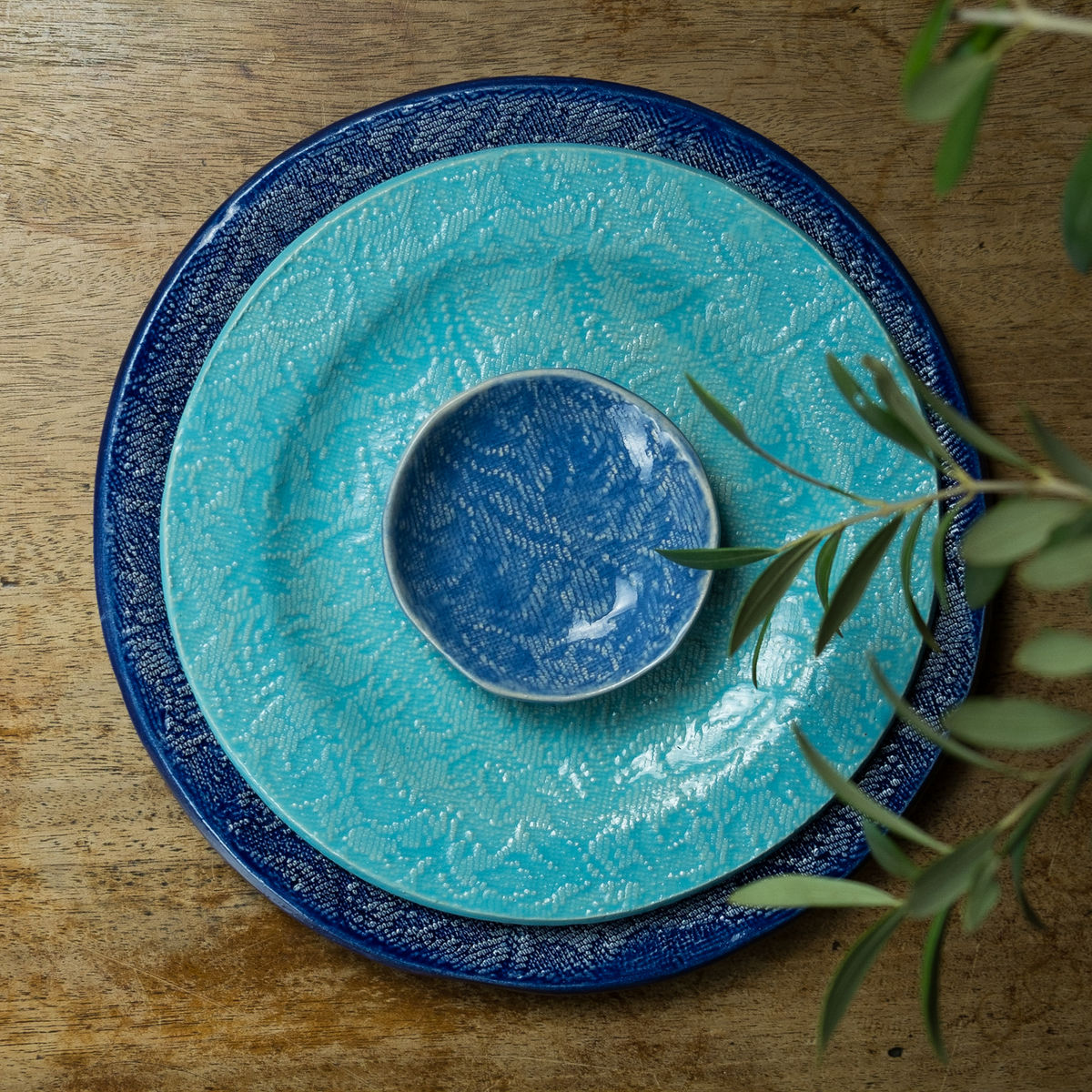 Turabi ceramics - Turquoise  lace imprinted small plate - Handcrafted in Palestine - product images  of