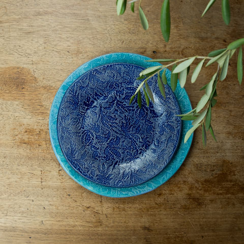 Turabi,ceramics,-,Cobalt,blue,lace,imprinted,small,plate,Handcrafted,in,Palestine,Elbustan, el bustan, Palestine, Palestinian, West Bank, Bethlehem, Jerusalem, Ramallah, handicrafts, hand crafts, Handmade, Hand-built, crafts, Artisans, ceramics, pottery, glaze, turabi ethical, Fair Trade, sustainable, lead-free, food safe,  Kitchenware