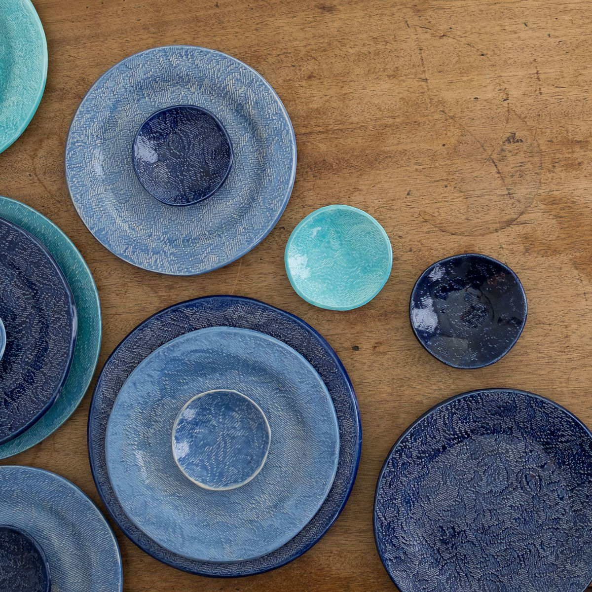 Turabi ceramics - Lake blue lace imprinted small plate - Handcrafted in Palestine - product images  of