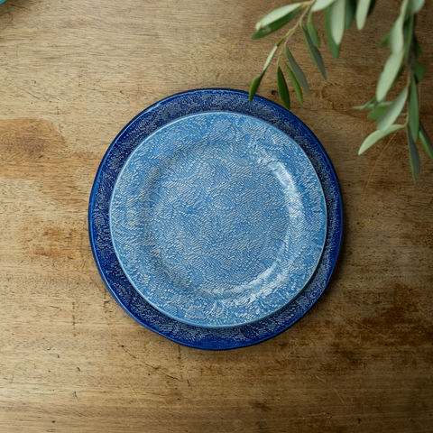 Turabi,ceramics,-,Lake,blue,lace,imprinted,small,plate,Handcrafted,in,Palestine,Elbustan, el bustan, Palestine, Palestinian, West Bank, Bethlehem, Jerusalem, Ramallah, handicrafts, hand crafts, Handmade, Hand-built, crafts, Artisans, ceramics, pottery, glaze, turabi ethical, Fair Trade, sustainable, lead-free, food safe,  Kitchenware
