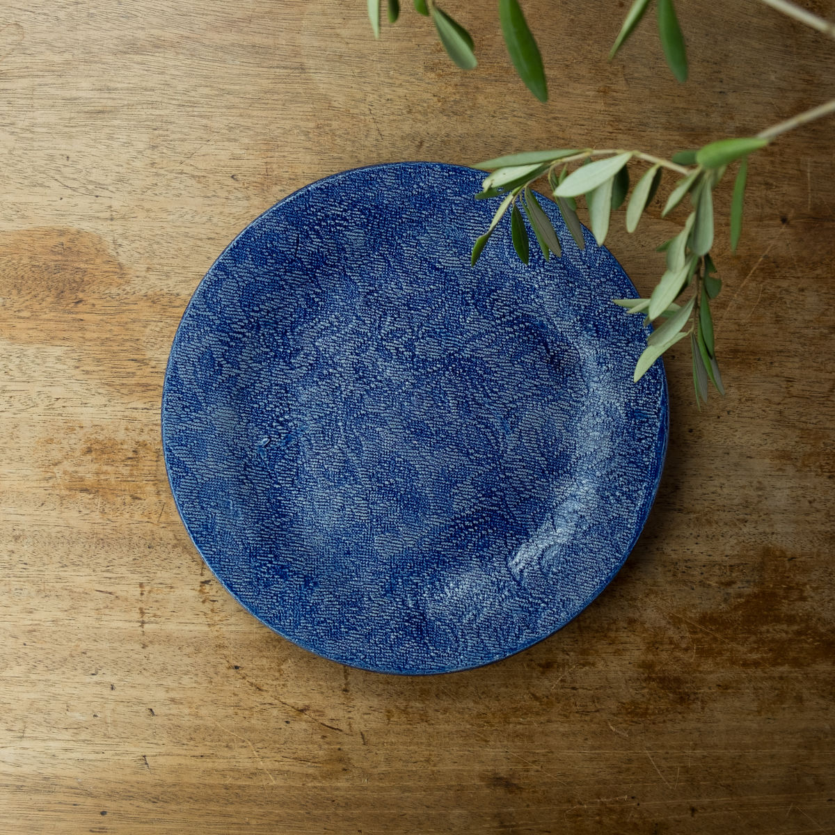 Turabi ceramics -  Cobalt blue lace imprinted large plate - Handcrafted in Palestine - product images  of