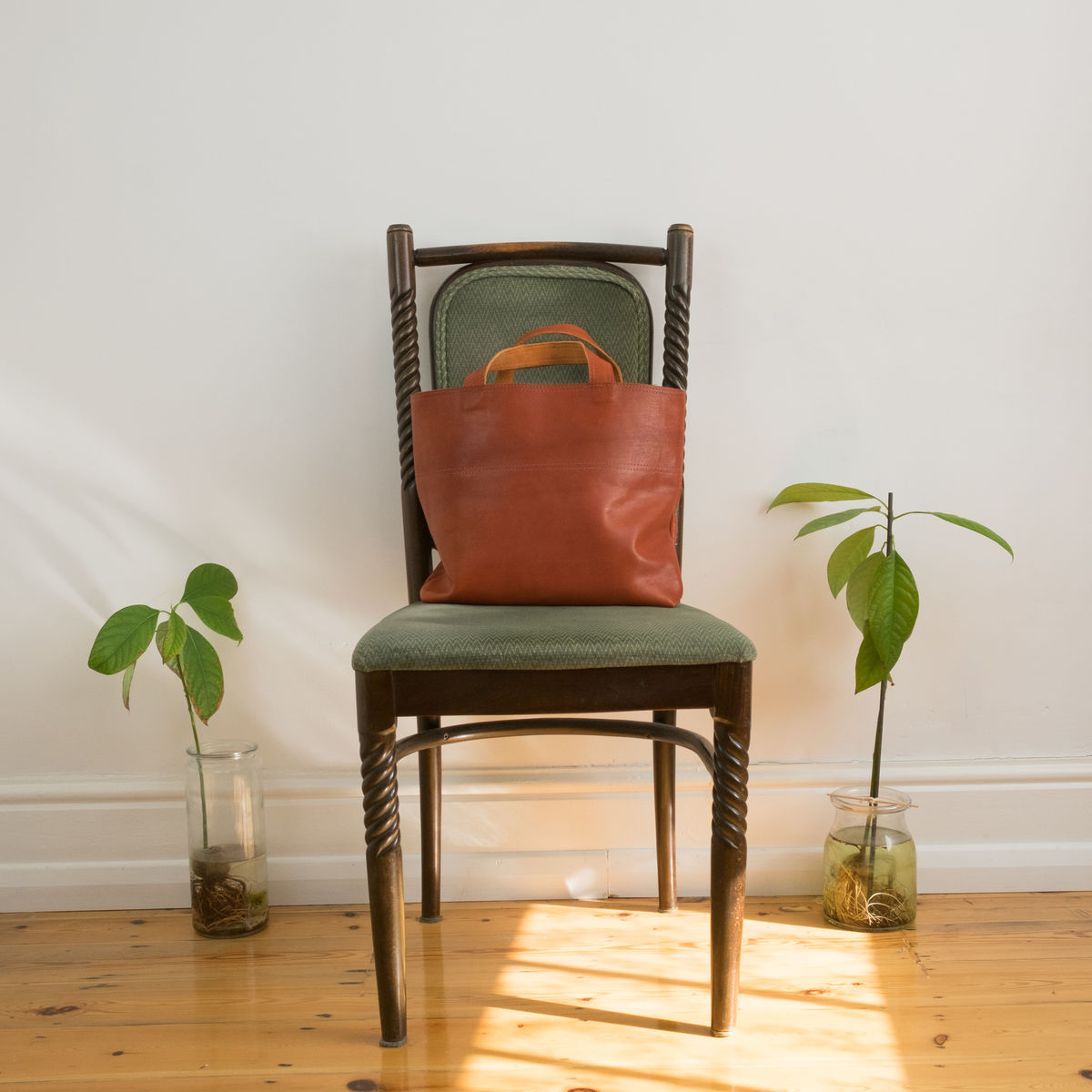The perfect size leather handheld tote bag - Handmade in Palestine - Designed by Grace Abdo - product images  of