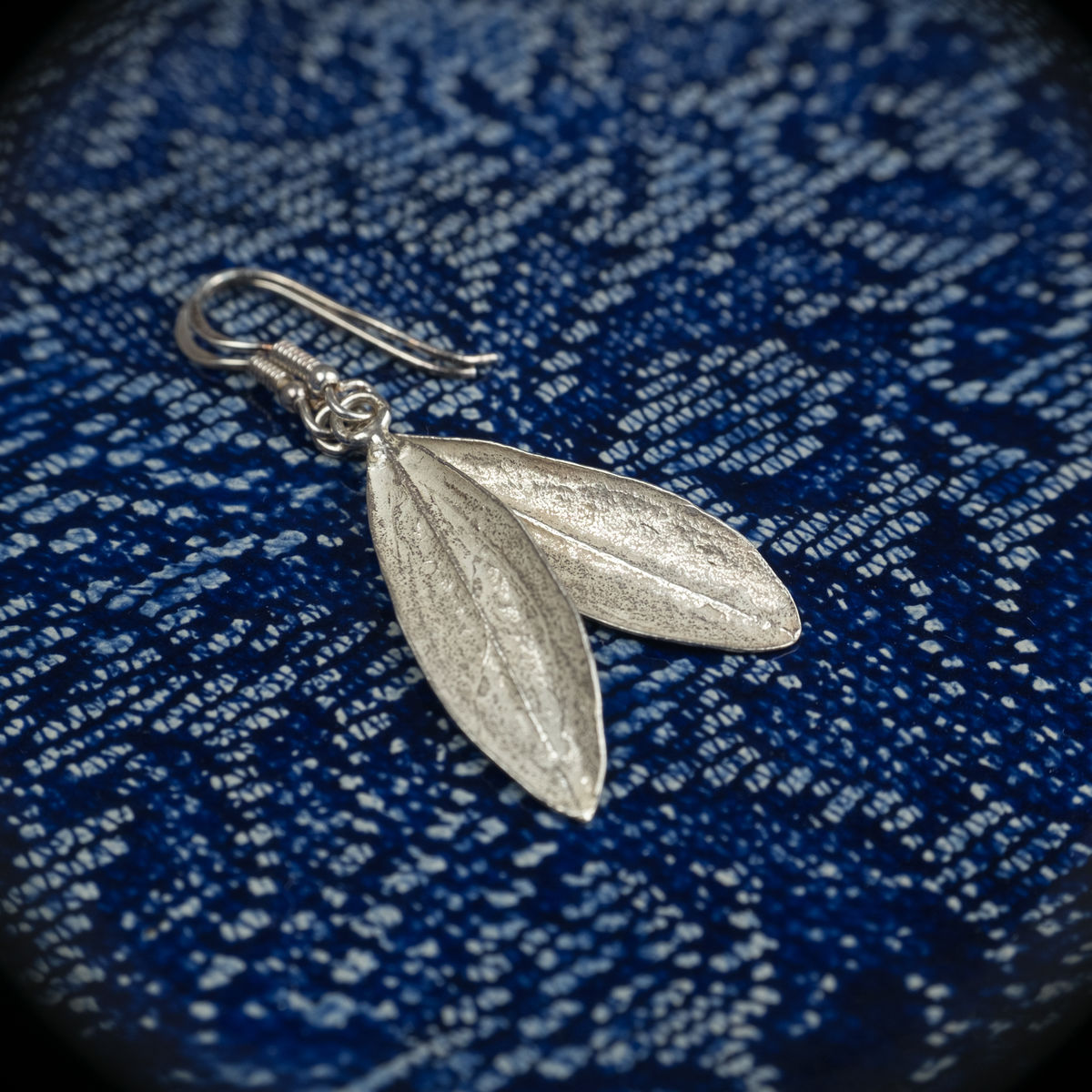 Silver olive tree leaf drop earrings - by Silver Zaytouna - Handcrafted in Palestine - Bethlehem - product images  of